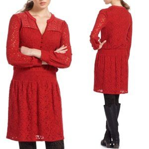 Anthro Leifnotes Field Day Boho Lace Dress Red XS